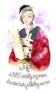 木星のオシャレな着物モダン無料イラスト素材