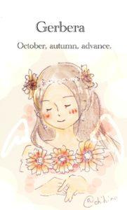 10月誕生花ガーベラ無料イラスト