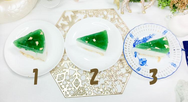 翡翠のレアチーズケーキ